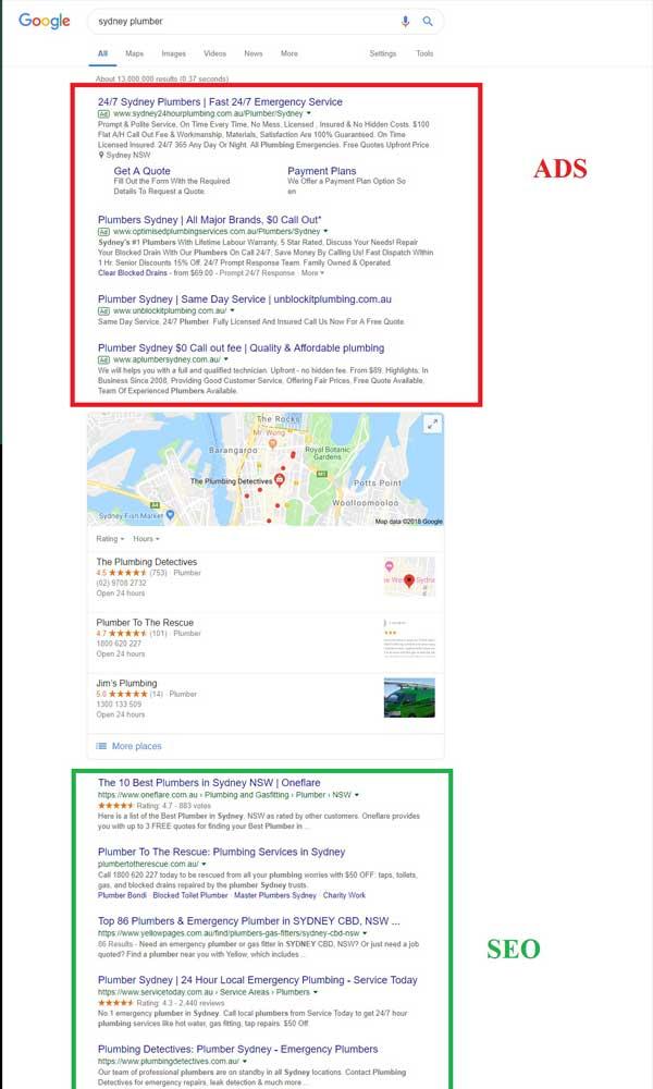 google seo vs google ads